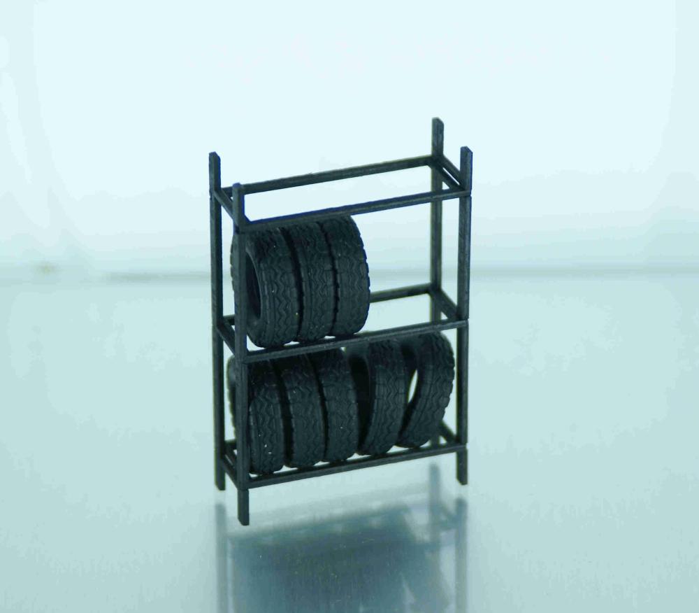 reifenregal mit 8 st ck reifen nachbildungen. Black Bedroom Furniture Sets. Home Design Ideas